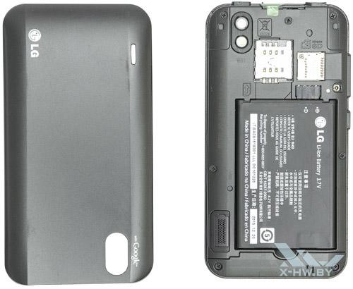 LG Optimus Black P970 со снятой крышкой