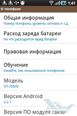 Настройки Samsung Galaxy Ace. Рис. 9