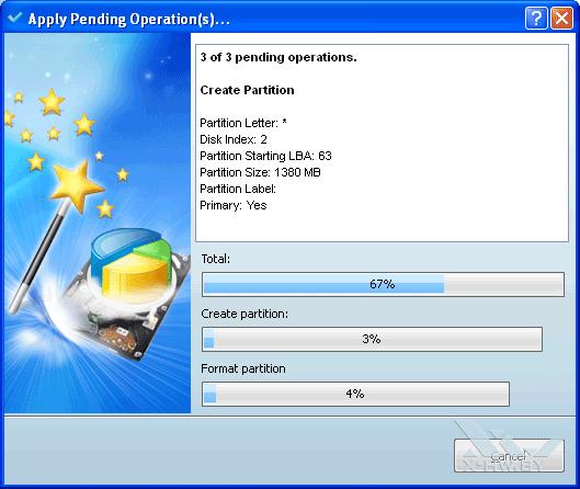 Процесс создания раздела в MiniTool Partition Wizard Home Edition