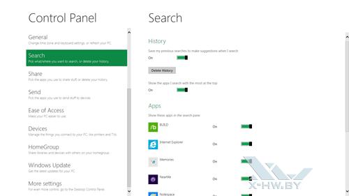 Панель управления Metro. Настройка поиска Windows Developer Preview