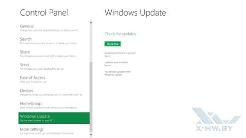 Панель управления Metro. Настройка обновления Windows Developer Preview