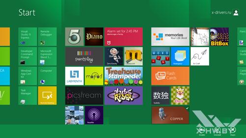 Стартовый экран Metro и панель с дополнительными параметрами Metro в Windows Developer Preview