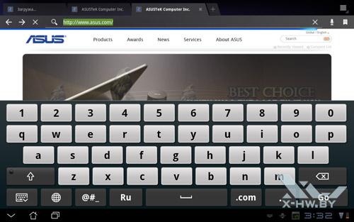 Экранная клавиатура ASUS Eee Pad Transformer TF101. Рис. 1