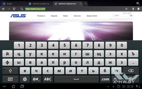 Экранная клавиатура ASUS Eee Pad Transformer TF101. Рис. 2