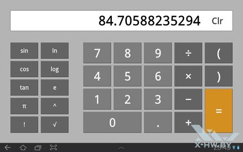 Приложения калькулятора Samsung Galaxy Tab 10.1