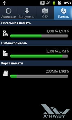 Диспетчер задач на Samsung Galaxy R. Рис. 2