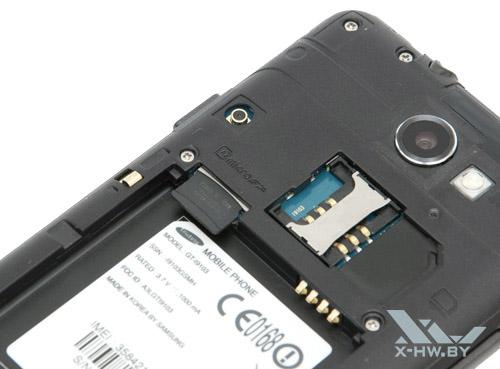Слот для SIM-карты и карта microSD на Samsung Galaxy R