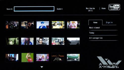 Приложение для просмотра YouTube на Philips 42PFL7606. Рис. 1
