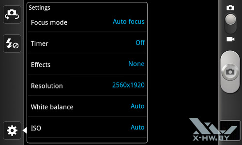 Интерфейс камеры Samsung Galaxy W. Рис. 5