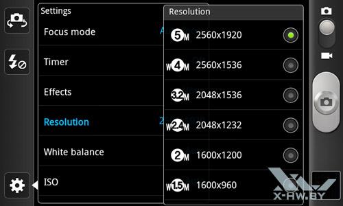 Интерфейс камеры Samsung Galaxy W. Рис. 6