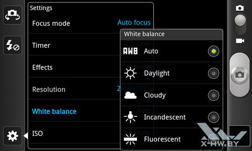 Интерфейс камеры Samsung Galaxy W. Рис. 7