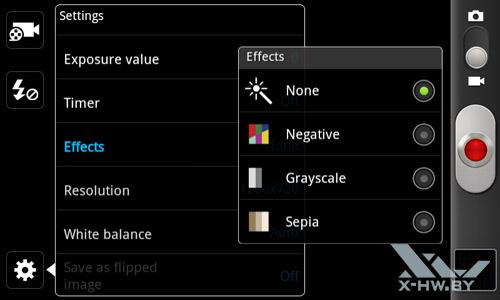 Интерфейс съемки видеокамеры Samsung Galaxy W. Рис. 2