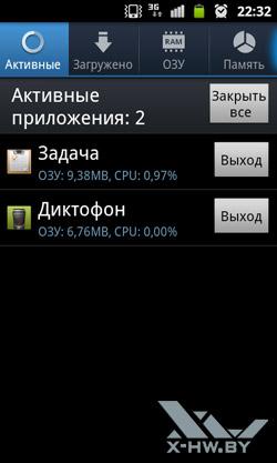 Активные приложения Samsung Galaxy W