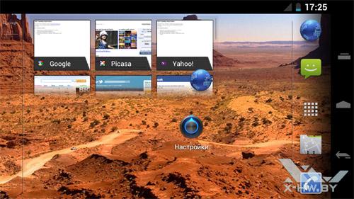 Рабочий стол Samsung Galaxy Nexus в горизонтальной ориентации
