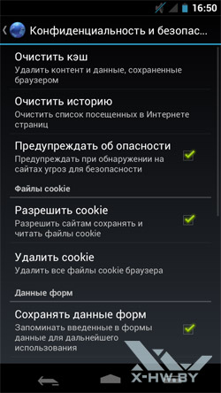 Настройки браузера на Samsung Galaxy Nexus. Рис. 4