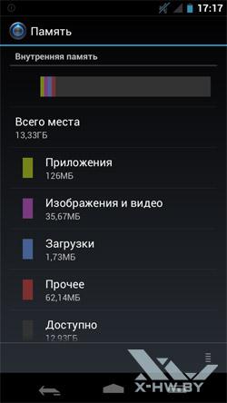Настройки памяти на Samsung Galaxy Nexus