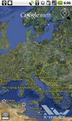Google Earth на Huawei U8800 IDEOS X5. Рис. 1