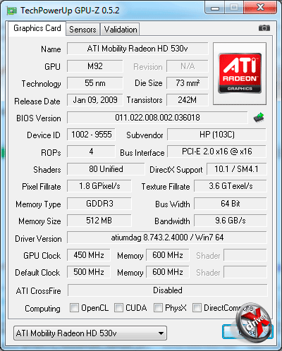 Видеокарта HP ProBook 4525s