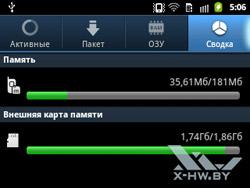Диспетчер задач на Samsung Galaxy Y Pro. Рис. 2