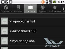 Контакты на Huawei U8350