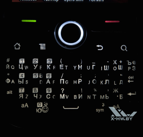 Подсвеченная клавиатура Huawei U8350 в темноте