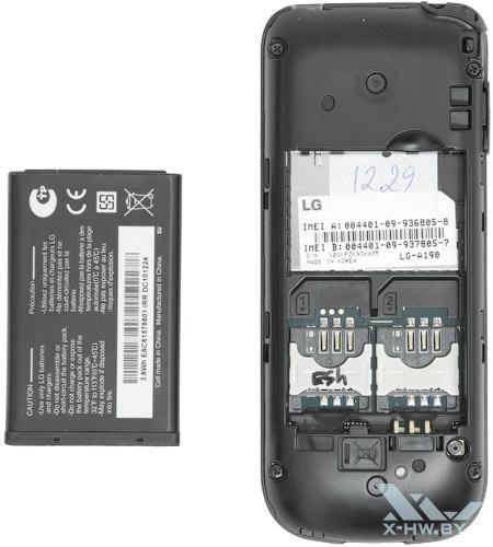 Отсеки для SIM-карт на LG A190