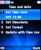 Настройки даты и времени LG A155