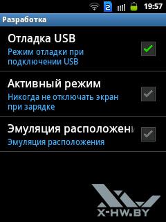 Параметры разработки на Samsung Galaxy Y Duos