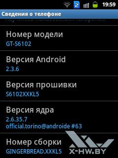 Сведения о Samsung Galaxy Y Duos. Рис. 2