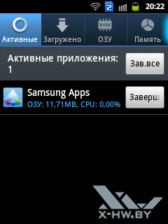 Диспетчер приложений на Samsung Galaxy Y Duos. Рис. 1
