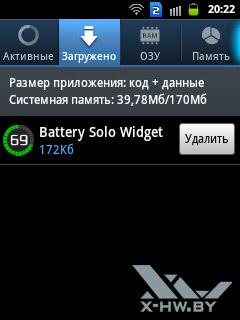 Диспетчер приложений на Samsung Galaxy Y Duos. Рис. 2