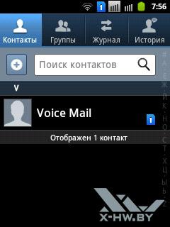 Контакты на Samsung Galaxy Y Duos