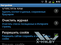 Настройки браузера на Samsung Galaxy Y Pro Duos. Рис. 6