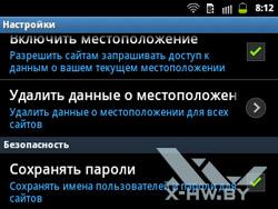 Настройки браузера на Samsung Galaxy Y Pro Duos. Рис. 7