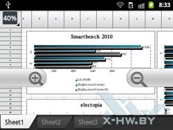 Электронные таблицы в Polaris Office на Samsung Galaxy Y Pro Duos. Рис. 2