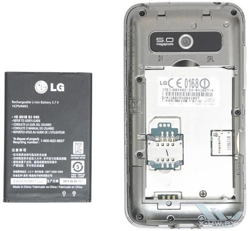 Слот для SIM-карты LG Optimus Hub E510