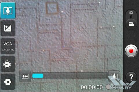 Интерфейс съемки видео на камеру LG Optimus Hub E510. Рис. 2