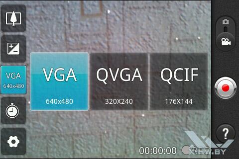 Интерфейс съемки видео на камеру LG Optimus Hub E510. Рис. 3