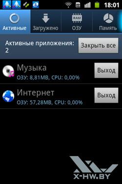 Диспетчер задач на Samsung Galaxy Mini 2. Рис. 1