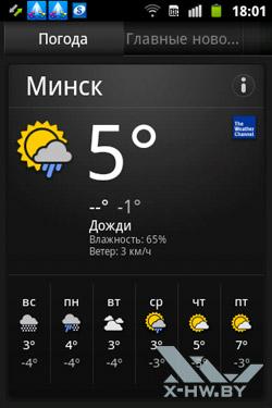 Новости и погода на Samsung Galaxy Mini 2. Рис. 1