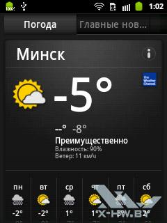 Приложение Новости и погода на Samsung Galaxy Pocket. Рис. 1