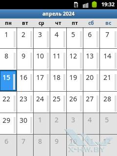 Календарь на Samsung Galaxy Pocket. Рис. 1