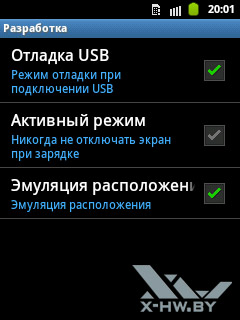 Настройки разработки на Samsung Galaxy Pocket