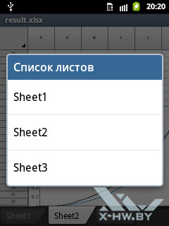 Список листов в электронных таблицах в Polaris Viewer на Samsung Galaxy Pocket