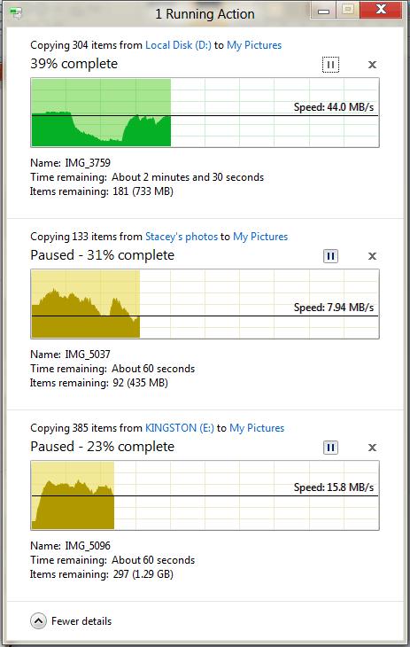 Окно копирования файлов в Windows 8. Рис. 2