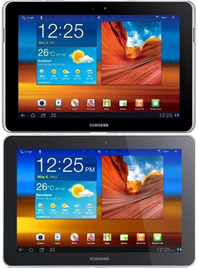 Samsung Galaxy Tab 10.1N (сверху) и Galaxy Tab 10.1