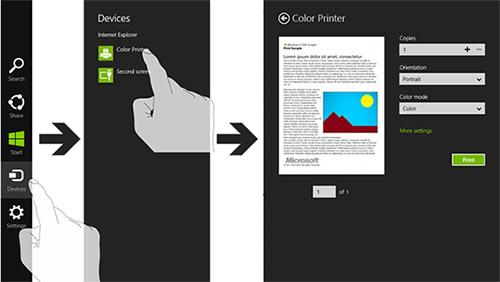 Печать в Windows 8. Рис. 1