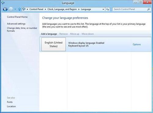 В Windows 8 улучшена языковая поддержка