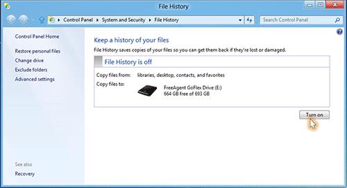File History - аналог Time Machine в Windows 8