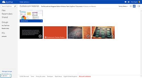 SkyDrive получил интерфейс в стиле Metro